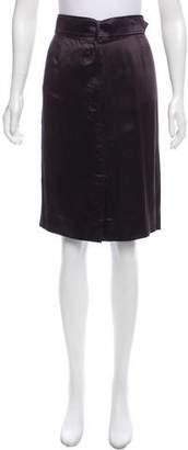 Saint Laurent Satin Pencil Skirt
