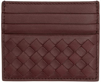 Bottega Veneta Burgundy Intrecciato Card Holder