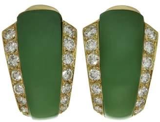 Van Cleef & Arpels Van Cleef & Arples 18K Yellow Gold Diamond Green Chrysoprase Earrings