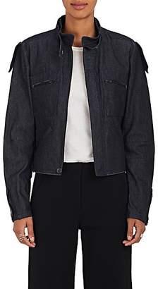 Yohji Yamamoto Regulation Women's Belted-Collar Denim Jacket - Navy