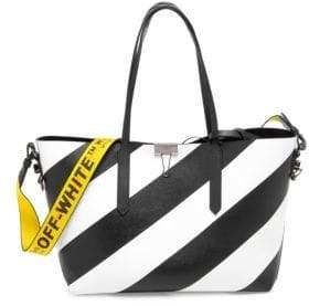 Off-White Medium Reversible Diagonal Stripe Leather Tote Bag