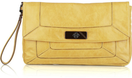 BCBG MAX AZRIA Downtown Gallery leather wristlet clutch