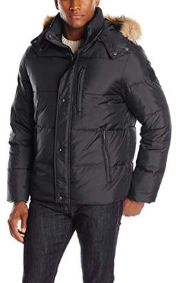 Cole Haan Men's Faux Down Open Bottom Bomber with Detachable Hood