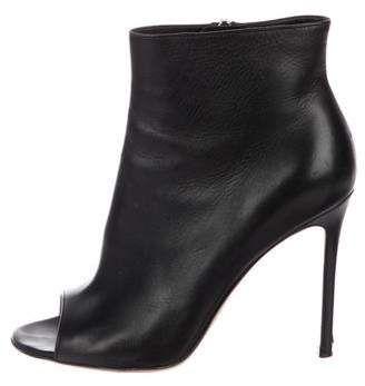Gianvito Rossi Leather Peep-Toe Ankle Booties