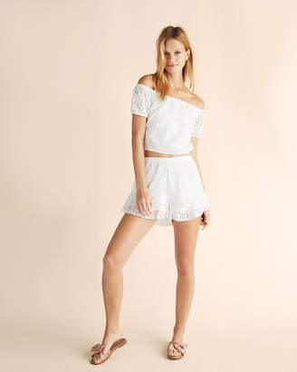 Express High Waisted Ruffle Lace Shorts