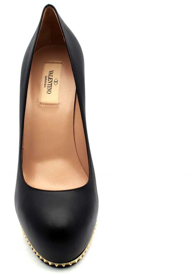 "Valentino EWS00152"" Studded Stiletto Black Leather Platform Pump"