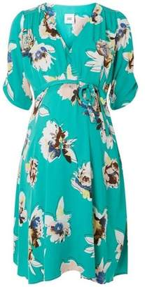 Dorothy Perkins Womens **Mamalicous Maternity Green Floral Print Woven Skater Dress