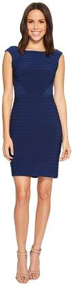 Adrianna Papell Matte Jersey Banded Dress with Lace Yoke and Sleeves Women's Dress