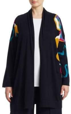 Marina Rinaldi Marina Rinaldi, Plus Size Knitted Wool Open-Front Jacket