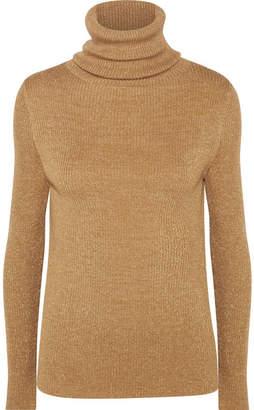 Vanessa Seward Etoile Metallic Ribbed Wool-blend Turtleneck Sweater - Beige
