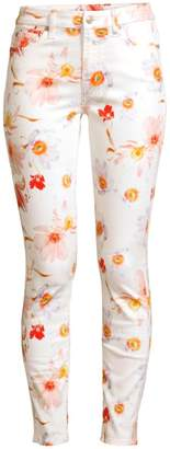 7 For All Mankind High-Rise Floral Ankle Skinny Jeans