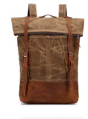 EAZO - Folded-Top Waxed Canvas & Leather Backpack In Brown