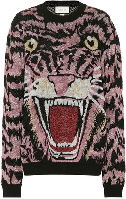 Gucci Tiger metallic jacquard sweater
