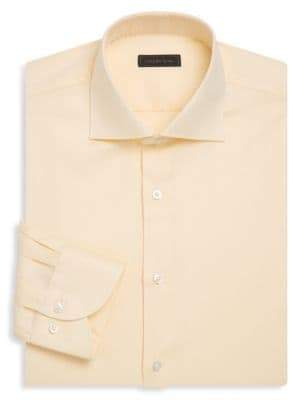 Saks Fifth Avenue COLLECTION Classic-Fit Non-Iron Textured Cotton Dress Shirt