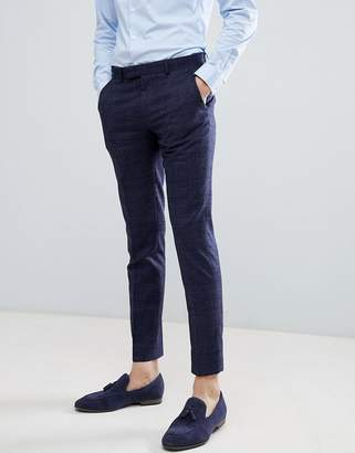 Moss Bros Wedding Skinny Suit PANTS In Navy Check