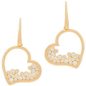 Diamonique Heart Dangle Earrings, Sterling or18K Plated