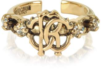 Roberto Cavalli Brushed Goldtone RC Icon Ring