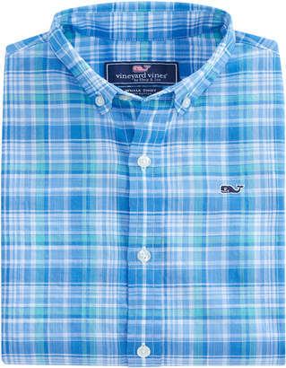 Vineyard Vines Boys New Providence Plaid Beach Tartan Whale Shirt