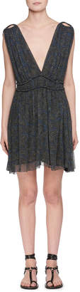 Etoile Isabel Marant Estelle Plunging-Neck Sleeveless Printed Silk Dress