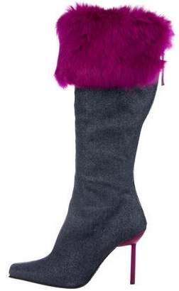 Giuseppe Zanotti Denim Fur-Trimmed Boots