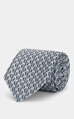 Kiton Men's Paisley Plain-Weave Silk Necktie - Gray