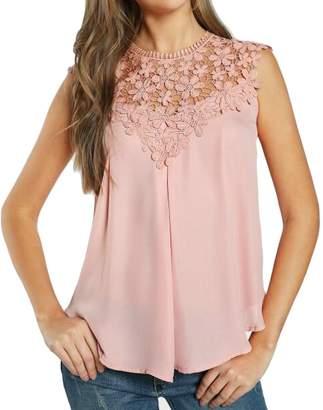 YYG Women Lace Stitching Hollow Out Sleeveless Sexy Chiffon Tank Top Shirt M