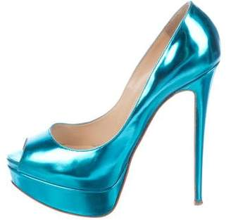 Christian Louboutin Lady Peep 150 Metallic Pumps