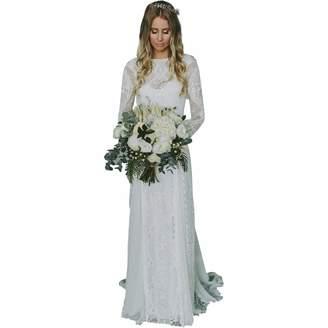 Roycebridal Lace Wedding Dresses Long Sleeve Open Back Bohemian Beach Wedding