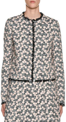Giambattista Valli Fringe-Hem Floral-Embroidered Tweed Jacket