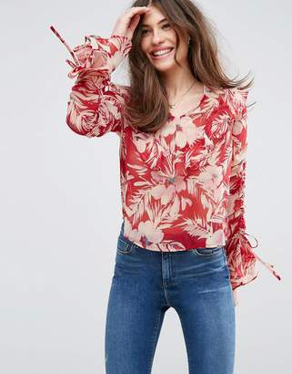 Asos DESIGN Floaty Blouse In Red Floral with Ruffles