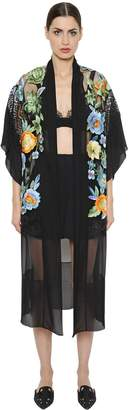 Alberta Ferretti Embroidered Chiffon & Lace Kimono Jacket