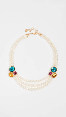 Ben-Amun Imitation Pearl & Stone Necklace