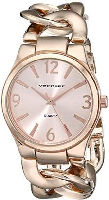 Vernier Women's VNR11081RG -Tone Metal Interlocking Chain Bracelet Watch