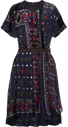 Sacai Asymmetric Belted Devoré-chiffon Dress - Navy