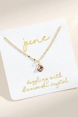 francesca's June Swarovski Circle Pendant Necklace - Lavender