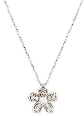 14K Diamond Flower Pendant Necklace