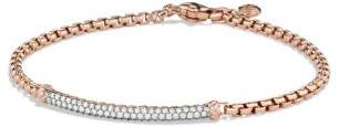 David Yurman Petite Pave Bar Metro Bracelet With Diamonds In 18K Rose