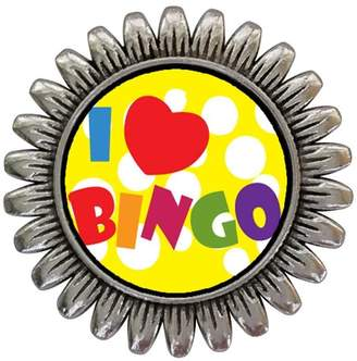 GiftJewelryShop Ancient Style Silver Plate I Love Bingo Sunflower Pins Brooch