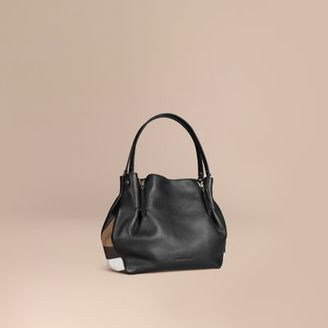 Burberry Medium Check Detail Leather Tote Bag $1,295 thestylecure.com