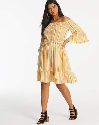 Neon Rose Stripe Bardot Dress