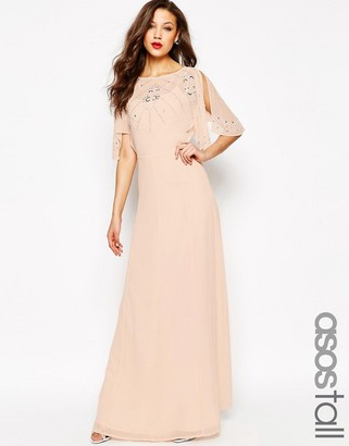 ASOS Tall ASOS TALL Embellished Flutter Sleeve Maxi Dress $138 thestylecure.com