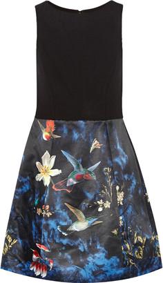 Alice + Olivia Alejandra printed satin and stretch-knit mini dress $398 thestylecure.com