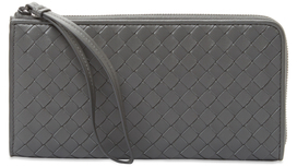 Bottega Veneta Intrecciato Woven Leather Zip Around Wallet