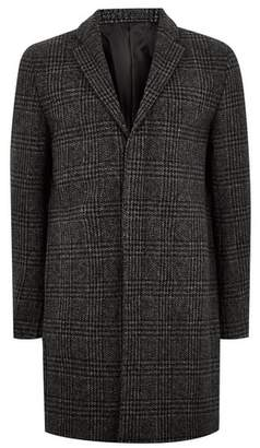 Topman Mens Grey SELECTED HOMME Gray Check Wool Rich Coat