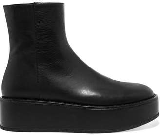 Ann Demeulemeester Leather Platform Ankle Boots - Black