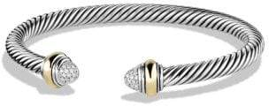 David Yurman Cable Classics Bracelet With Diamonds And 14K Gold, 5Mm
