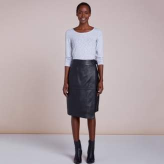 The White Company Leather Wrap Skirt