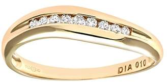 N. Naava Women's 9 ct Yellow Gold 0.10 ct Diamond Channel Set Wave Eternity Ring, Size P