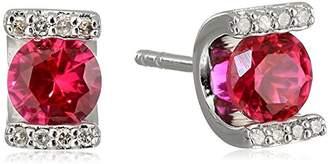 Sterling Silver Lab Ruby and Diamond U-Shape Earrings