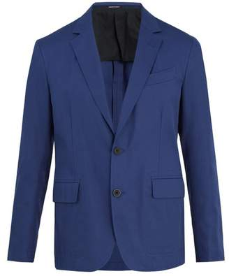 Alexander Mcqueen - Notch Lapel Cotton Twill Blazer - Mens - Blue